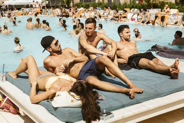 The pool attracts Berlin's cool crowd