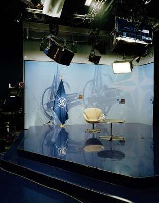 Lights, camera… a lonely TV studio for down-the-line interviews