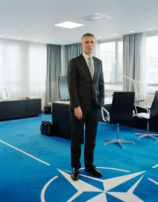 Nato's secretary-general in his office; he's not distracted by the view