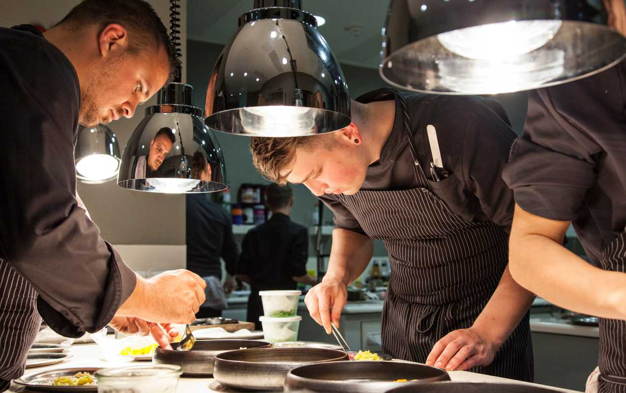 Kitchen of Engelhorn's Michelin-starred Opus V restaurant