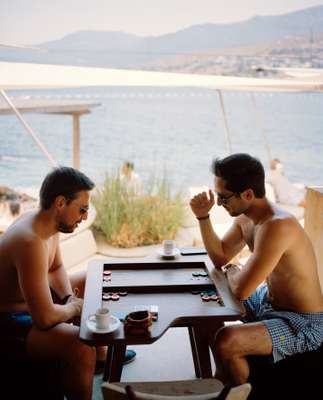 Backgammon in board shorts: a common sight on the Aegean