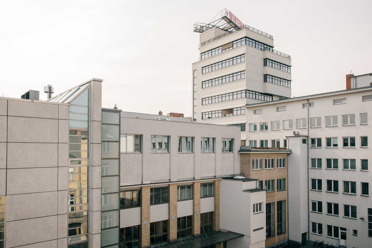 The Esther Schipper Gallery occupies the top floor of this building on Potdsdamer Strasse