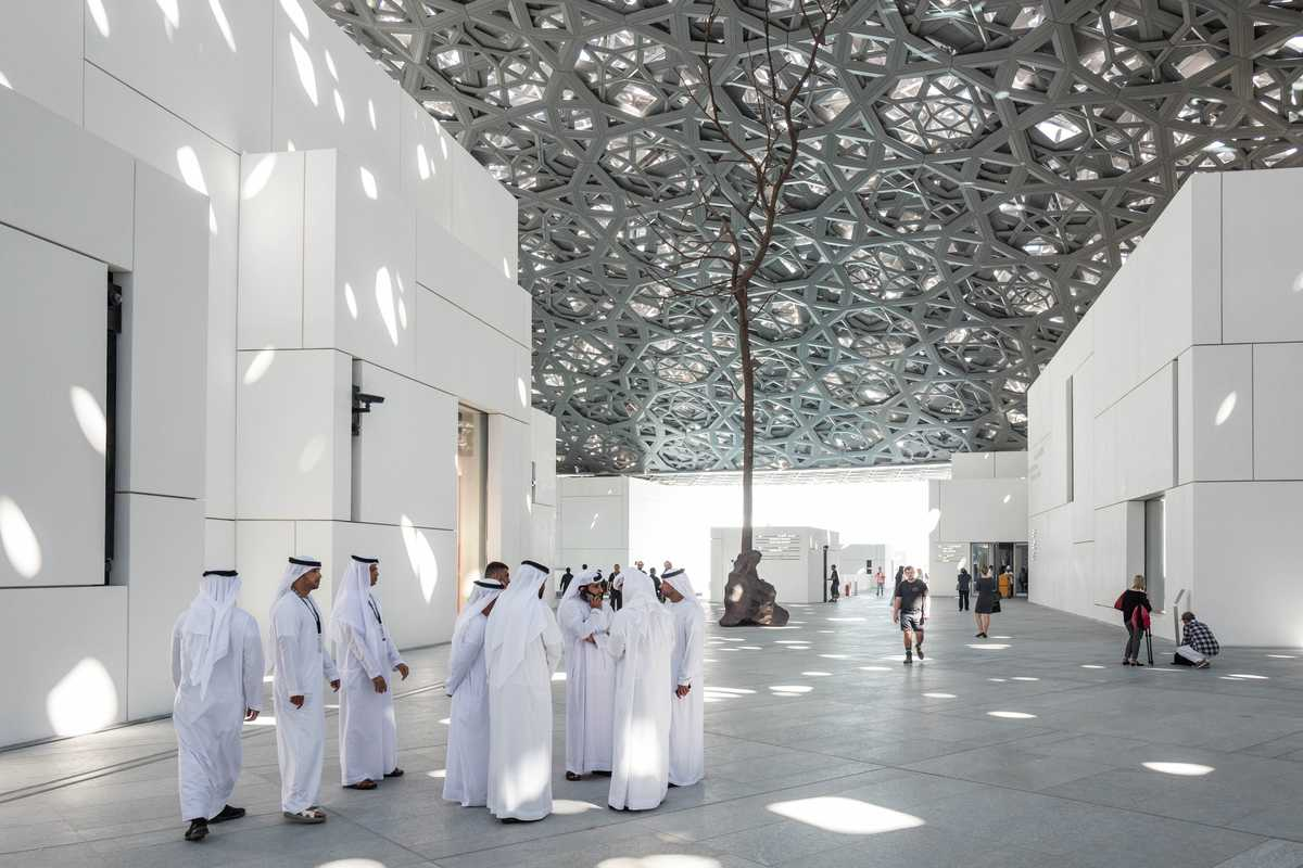 Louvre Abu Dhabi atrium with lattice-work roof by Jean Nouvel