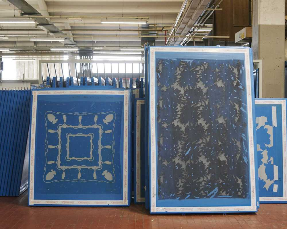 Screens for printing designs on silk