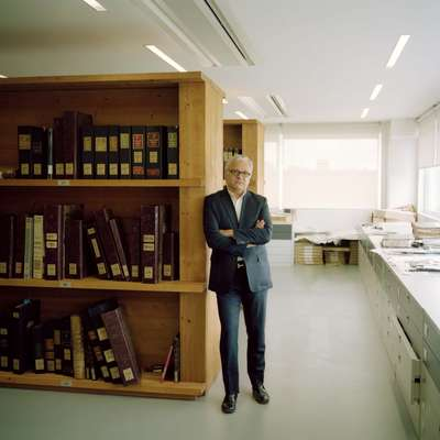 Francesco Gentili, owner of Gentili Mosconi, with his catalogued archives