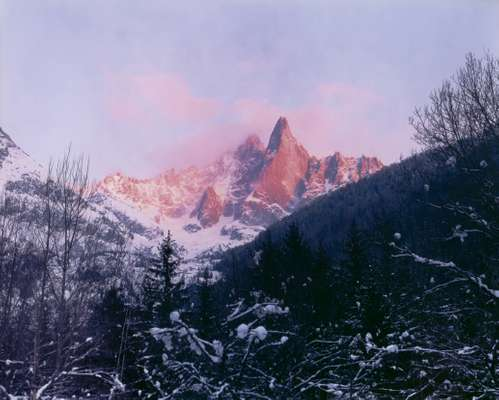 Alpenglow around Les Drus, of which there are now two after le Pilier Bonatti crumbled in 2005