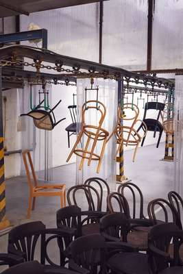 Chairs on the production line at Ton