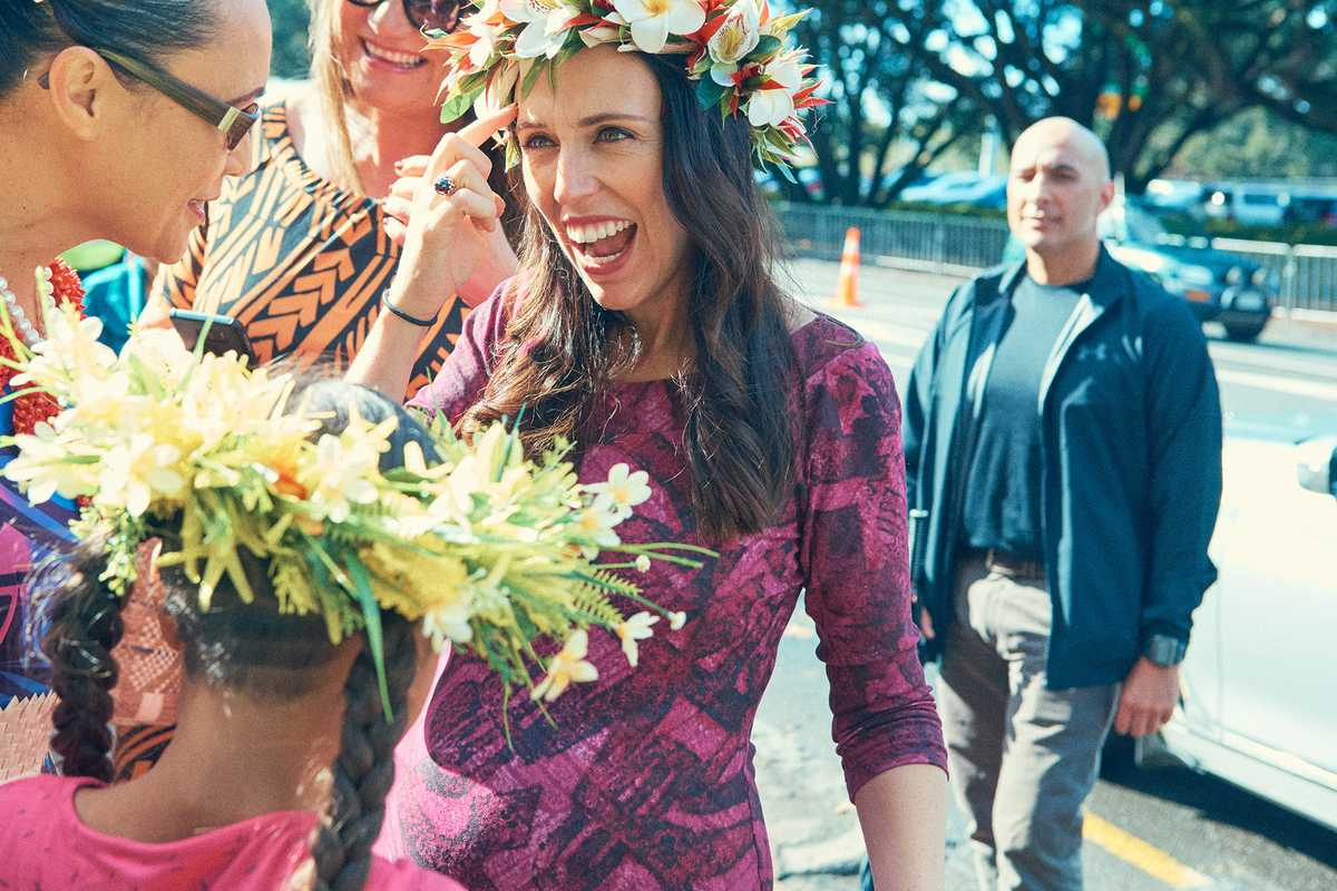 Ardern arriving at the annual Pasifika Festival, Auckland