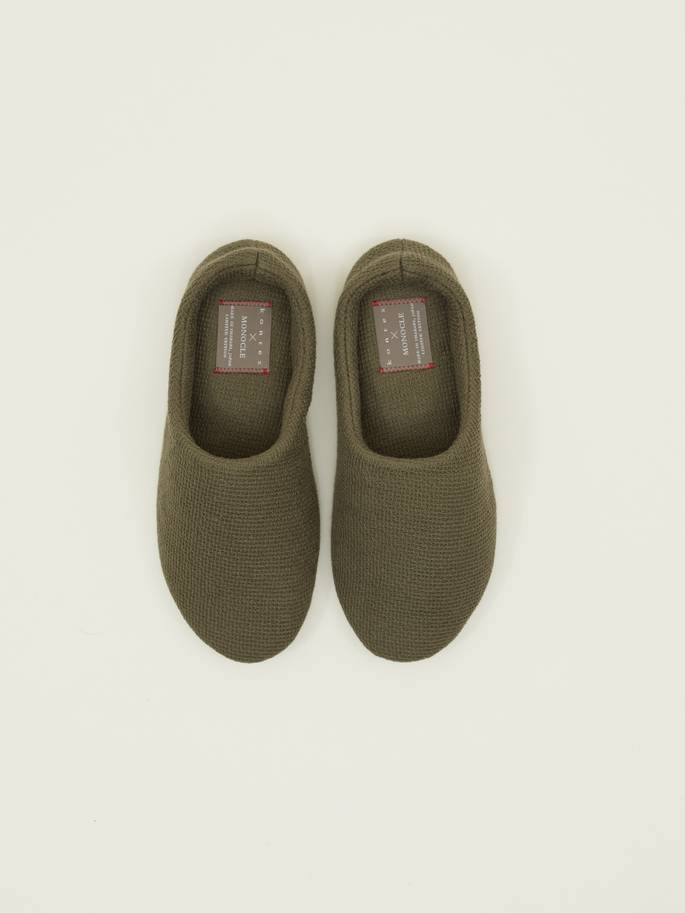 Lana Cotton Slippers by Kontex in Olive