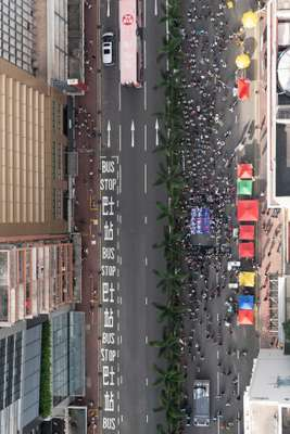 Protesters wend their way along Hennessy Road, Hong Kong