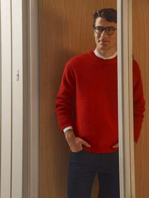 Jumper by Beauty&Youth, shirt by Pine, jeans  by Jacob Cohën, glasses by Ray-Ban