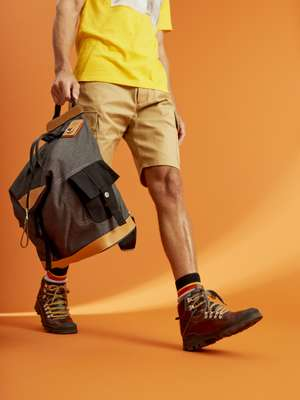 Cargo shorts, Eye Loewe Nature convertible bag, socks and hiking boots