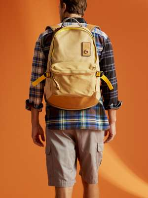 Patchwork shirt, cargo shorts and  backpack, all Eye Loewe Nature