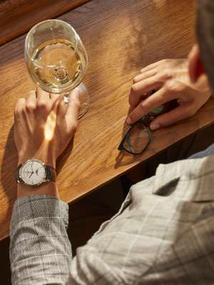 Jacket by Brooksfield, watch by Vacheron Constantin, glasses by Lindberg