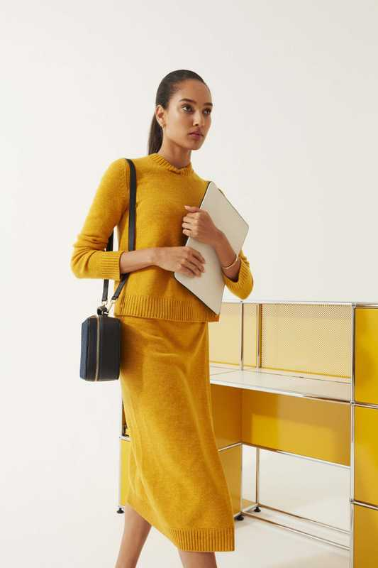 Jumper and skirt by Loro Piana, earrings and bangle by Georg Jensen, bag and business pouch by L/Uniform