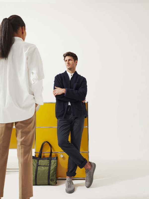 Left: shirt by Scye Basics, trousers by Massimo Alba, earrings by Ana Khouri. Right: jacket by The Gigi,  shirt by Brooksfield, trousers by Circolo 1901, trainers by CQP, bag by Porter