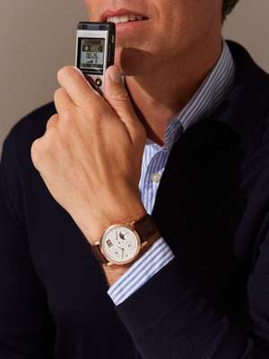 CARDIGAN by Roberto Collina, SHIRT by Brooksfield, lange 1 moon phase watch by A Lange & Söhne