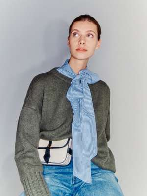 JUMPER by Massimo Alba, SHIRT and JEANS by Celine,  BELT BAG by L/Uniform