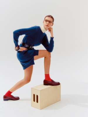 DRESS by Alexandra Golovanoff, TURTLENECK by Tricot Paris, SOCKS by Maria La Rosa, SHOES by JM Weston, GLASSES by Ateliers Baudin, BANGLES by Objet Singulier, BELT by Louis Vuitton