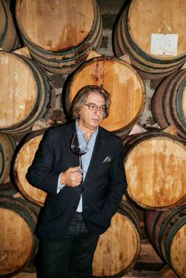 Mr Wine, Vahe Keushgeurian, among casks