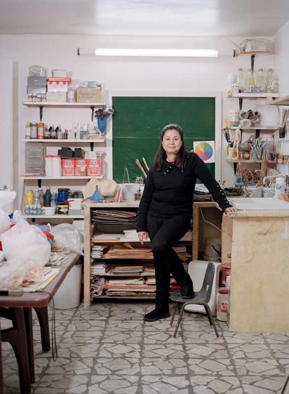Art teacher Zena Sabbagh, who belongs to an association to safeguard Aleppo's craftsmen