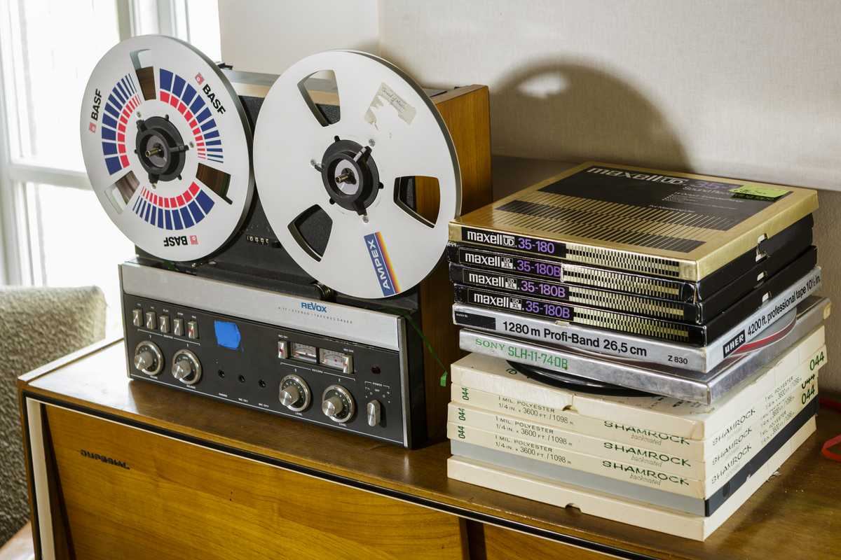 A tape recorder that artist Dieter Roth once owned and a stack of his work