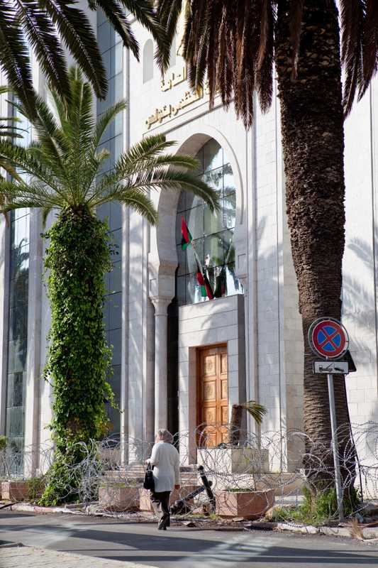 Libya's embassy in Tunis, surrounded by barbed wire