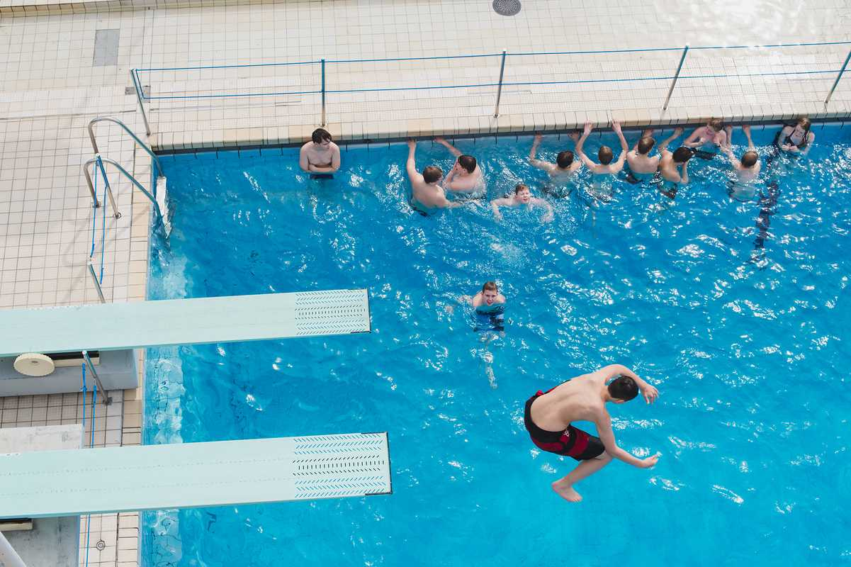 Diving schools use the stadium as a practice pool