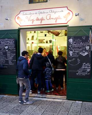 A popular gelato shop  in Matera