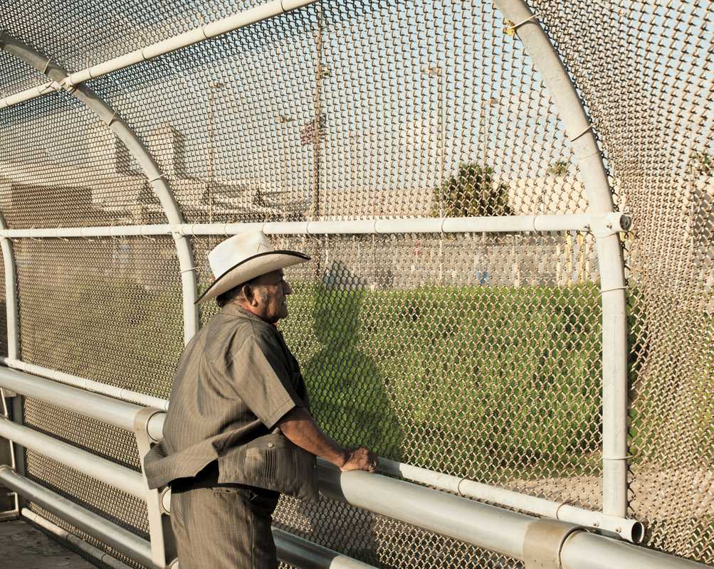 Mexican man on the official border-crossing bridge in Texas
