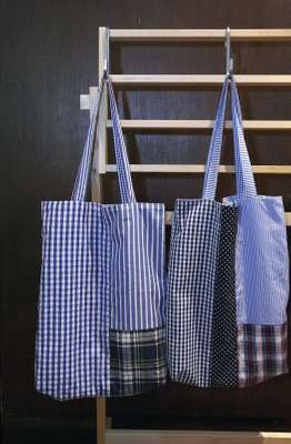 Morikage Shirt - The Kyoto shirt-maker now does bags made from cotton shirt fabric.