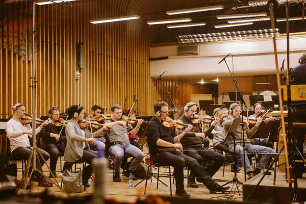 String recording session in the Czech National Symphony Orchestra studio