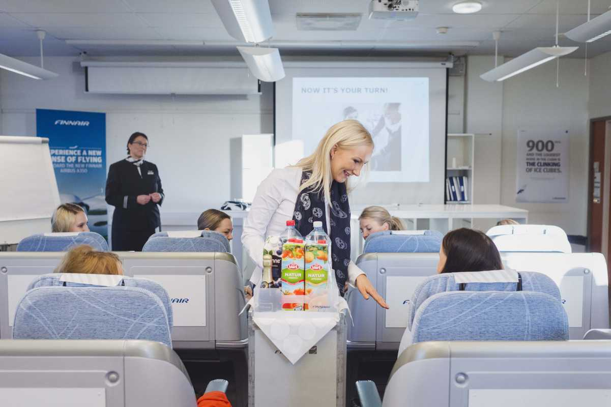 Finnair students learning their trade