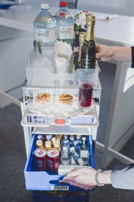 Drinks trolley at Finnair Flight Academy