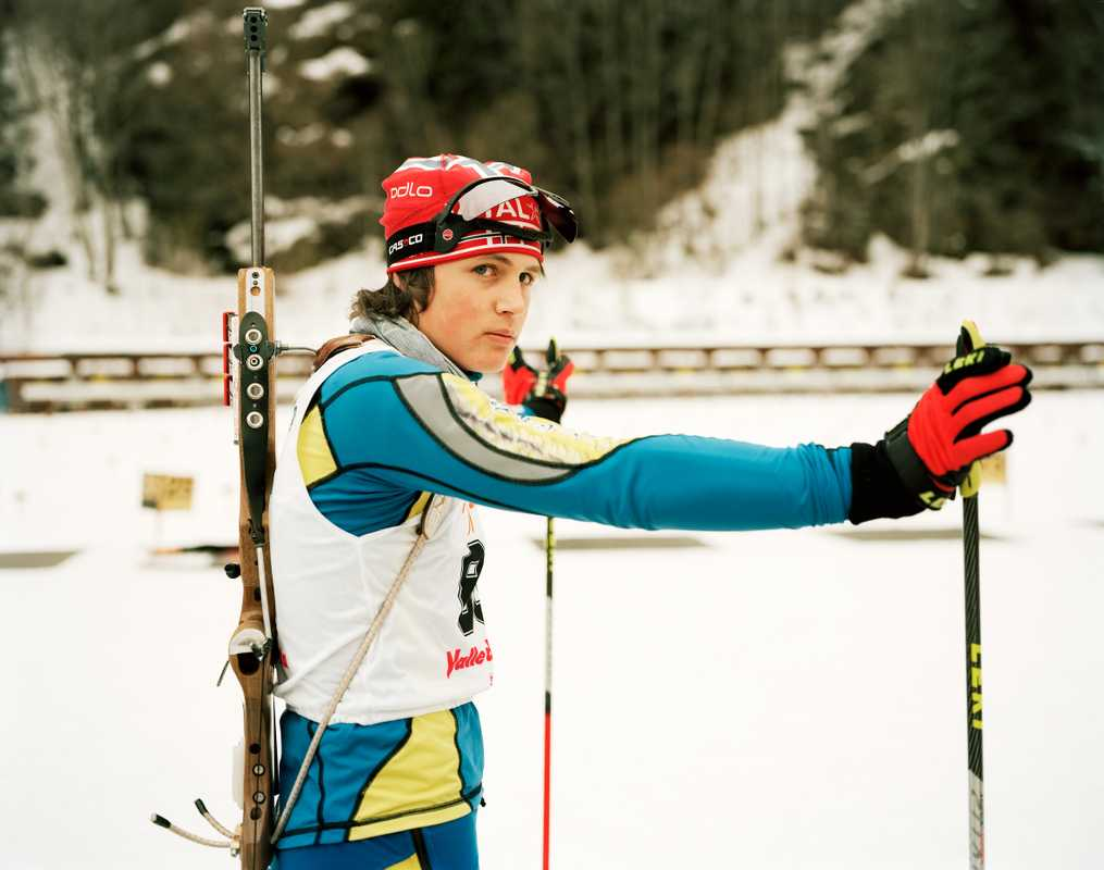 Biathlon contestant at Brusson ski resort