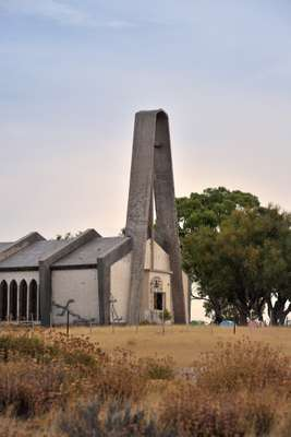 The village's modernist church was built on a dry steppe