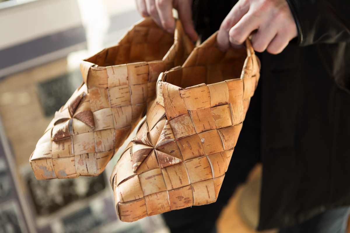 Traditional birch-bark shoes