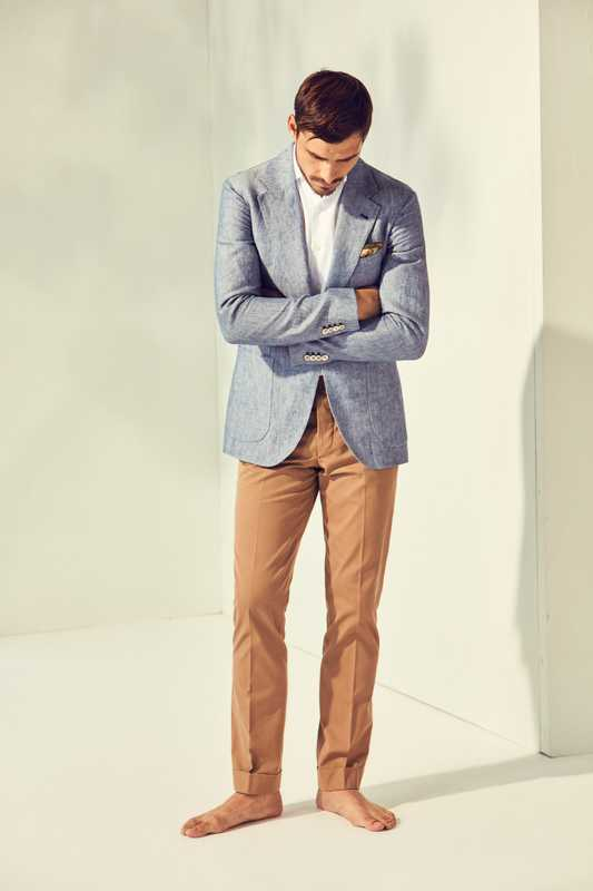 Jacket and trousers by Orazio Luciano, shirt by Ships, pocket square by Drake's