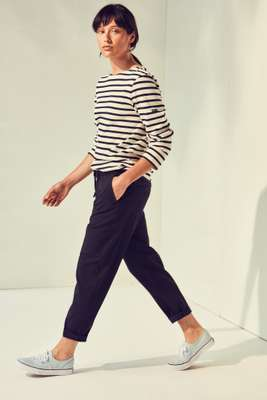 Long-sleeve t-shirt by Saint James, trousers by Barena Venezia, trainers by Vans