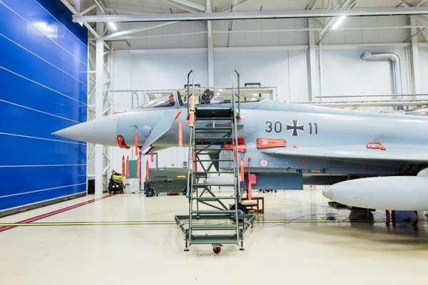 German fighter jet in the hangar