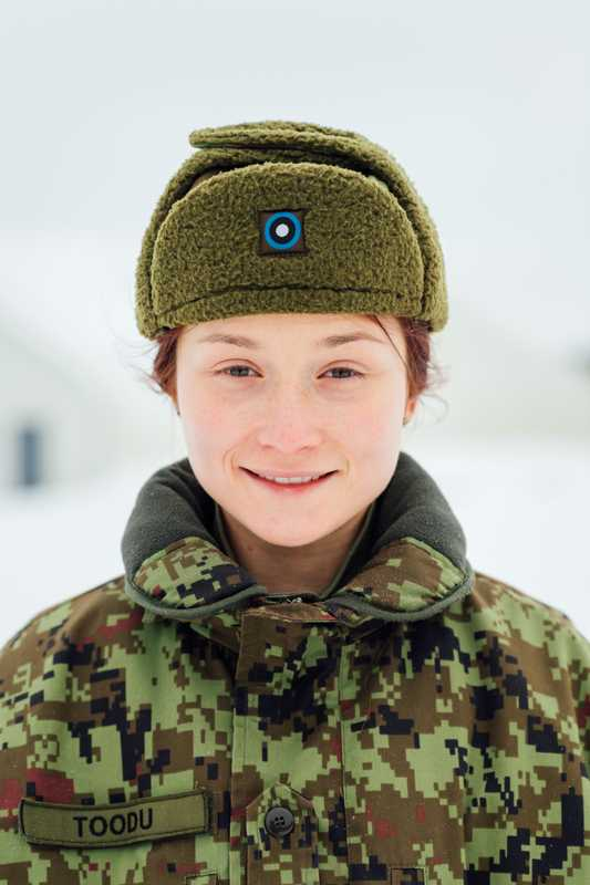 Private Laura Toodu is stationed at Tapa army base