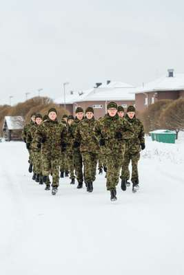 Estonian troops on a drill