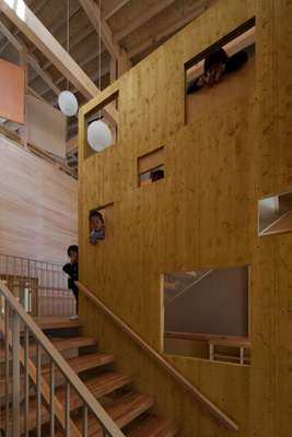 Umenosato's interior is a lattice of Japanese cypress wood