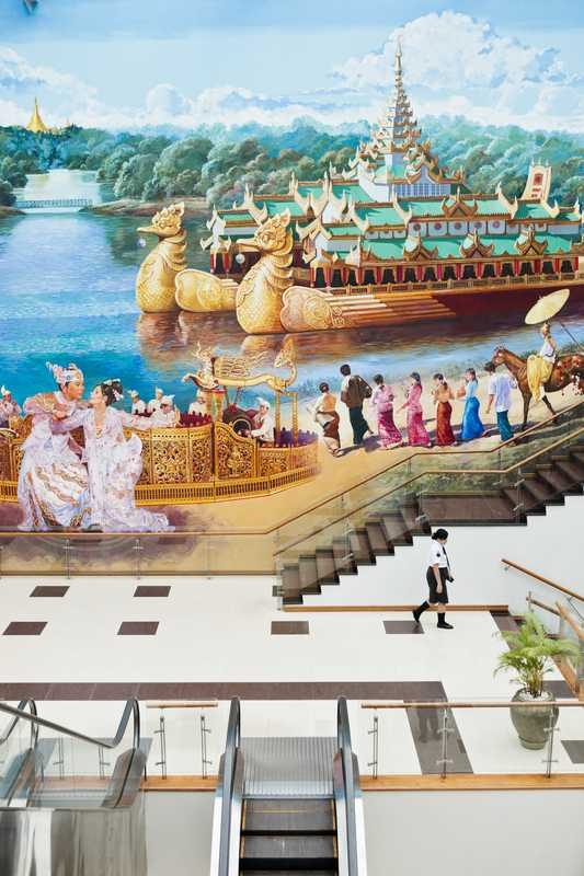 Mural at Yangon International Airport