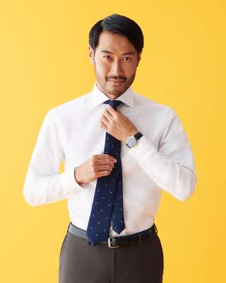 Shirt by Salvatore Piccolo, trousers by Pal Zileri, tie by Sergej Laurentius, watch by Vacheron Constantin, belt by APC