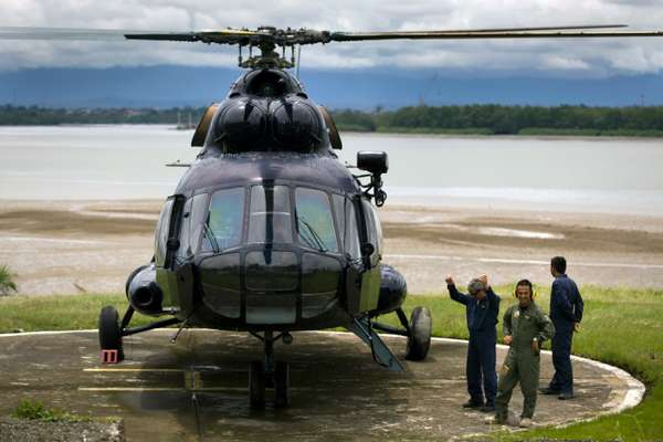 Russian-built Mi-17 helicopter lands at coastguard base in Buenaventura