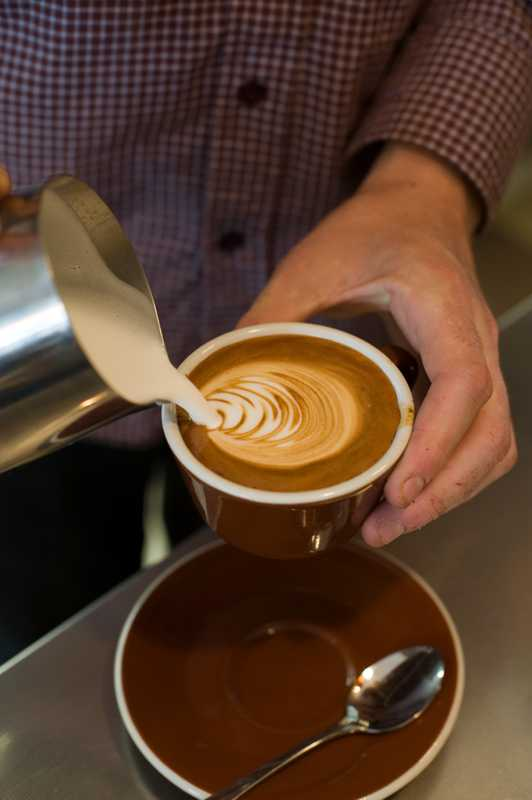 A flat white coffee
