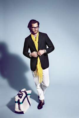 "Jacket by Salvatore Ferragamo, polo shirt by Polo Ralph Lauren, trousers by Bottega Veneta, glasses by Claire Goldsmith ""Legacy"", watch by Maurice Lacroix, scarf by Ballantyne for United Arrows, shoes by Church's, bag by Bonfanti, belt by Class"