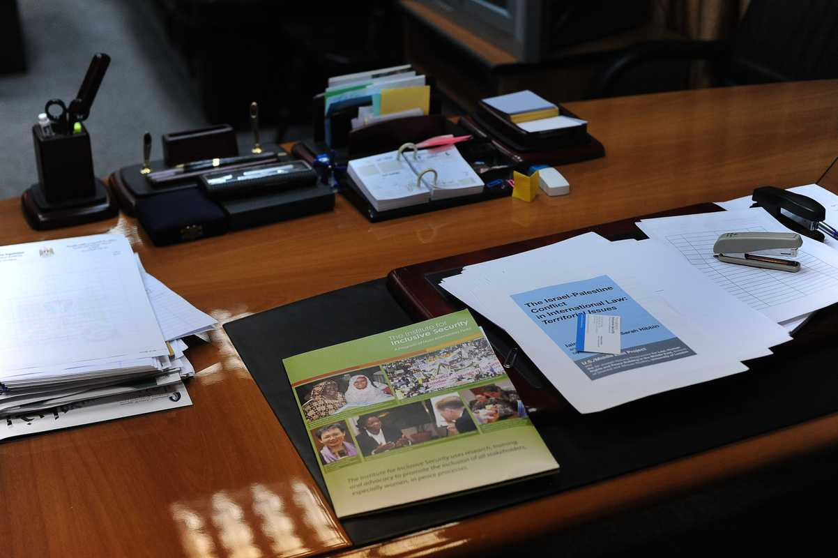 Erakat's desk at his office in Ramallah