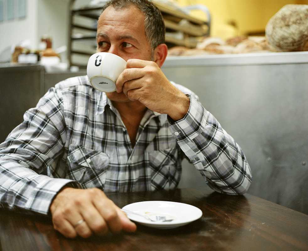 Nadav Kander drinks his half-decaf, half-regular coffee
